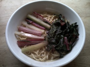 Flat noodles with celery and chard