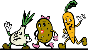 happy cartoon vegetables