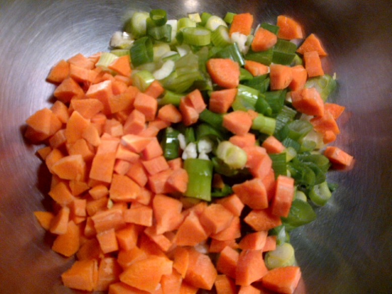 chopped carrots, celery, scallions, and garlic