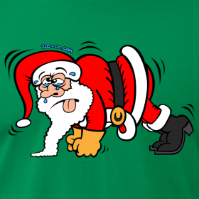 cartoon of Santa doing pushups