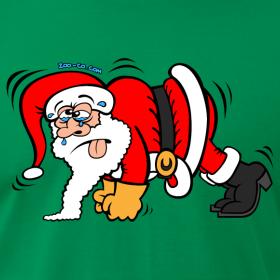 cartoon of Santa doing pushups