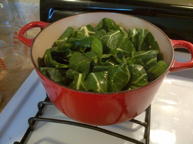 photo of collards on the stove