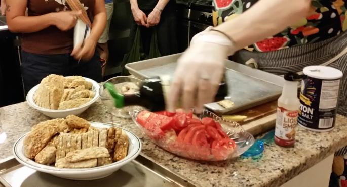 photo, marinating tempeh